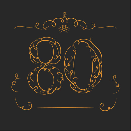 80th: Anniversary 80th signs  in calligraphy  style. Template of anniversary, birthday and jubilee emblems  with number.
