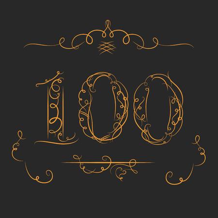 Anniversary 100 tekens in kalligrafie stijl. Sjabloon van jubileum, verjaardag en jubileum emblemen met nummer. Stock Illustratie