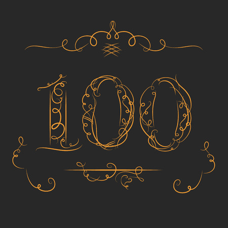 Anniversary 100th signs  in calligraphy  style. Template of anniversary, birthday and jubilee emblems  with number.