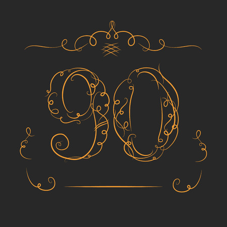 jubilee: Anniversary 90th signs  in calligraphy  style. Template of anniversary, birthday and jubilee emblems  with number.