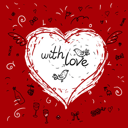 botle: Heart shape made with  doodles for your design includes phrase with love and doodle style burds and botle of wine