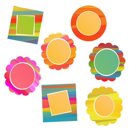 colorful frame set in paper cut style Vector