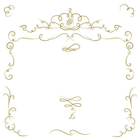 dividing: Ornate cartouche and scroll strokes. Vector design elements.