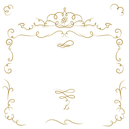 Ornate cartouche and scroll strokes. Vector design elements.