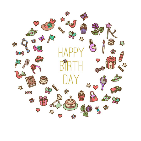 Birthday elements.  set with birthday cake,  gift and festive attributes. Children drawing doodle collection. Vector