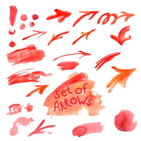 Aquarel set van geïsoleerde op witte achtergrond rode verf vlekken, penseelstreken, pijl lijnen. Hand schilderij op papier