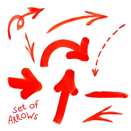 Acuarela conjunto de aislados en manchas de pintura roja fondo blanco, pinceladas, líneas de flecha. Pintura de la mano en el papel Foto de archivo - 41177653