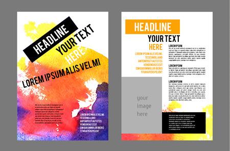 Vector Poster Templates met Aquarel Paint Splash. Aquarelle abstracte achtergrond voor het bedrijfsleven flyers, posters en plaatjes. Mobile Technologies Concept. Web vlakke stijl en Infographic Icons. Stock Illustratie