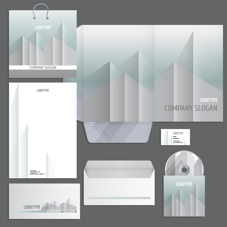 urban style: Gray corporate identity template in silver urban style. Vector company style for brandbook and guideline. EPS 10
