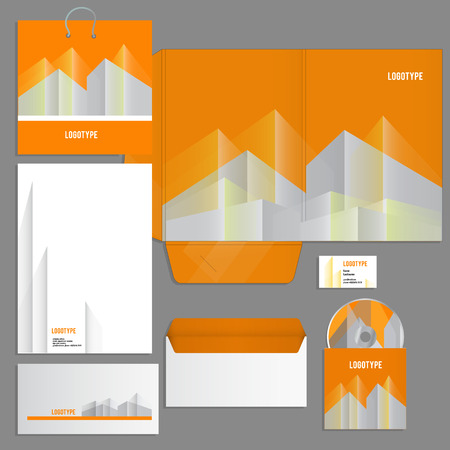 guideline: Gray corporate identity template in orange urban style. Vector company style for brandbook and guideline. EPS 10