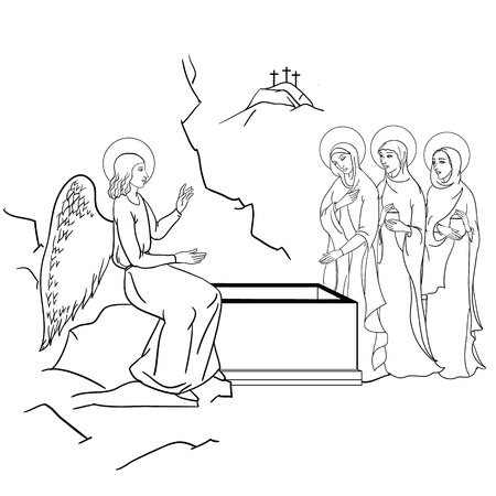 scene of Mary Magdalene  became the first person to see Jesus after his resurrection Vector