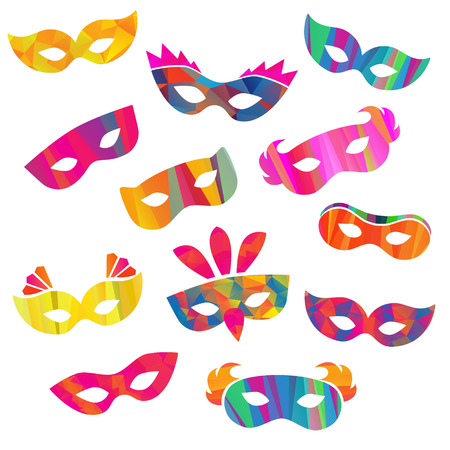 Set of carnival masks different forms and colour