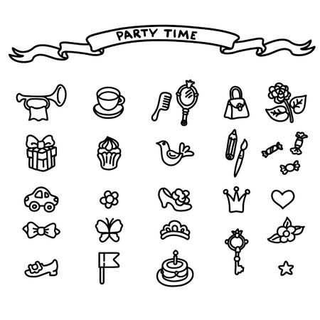 kids birthday party: Birthday and kids party elements.  set with birthday cake, gift and festive attributes. Children doodle collection.