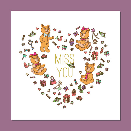 i miss you: Interesting square postcard template with cute Teddy Bears , includes note I miss you. Vector illustration