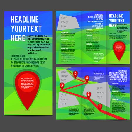 tri fold: Tri Fold corporate identity template Brochure Vector Design. Corporate Leaflet with polygonal landscape