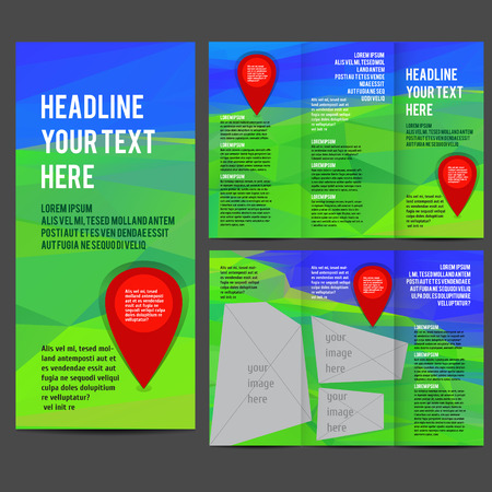 tri color: Tri Fold corporate identity template Brochure Vector Design. Corporate Leaflet with polygonal landscape