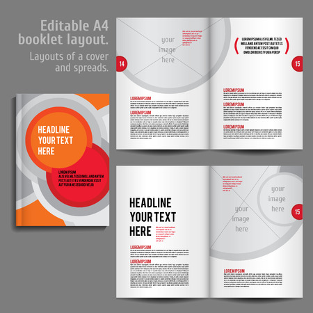 preview: A4 booklet Layout Design Template with Cover and 2 spreads of Contents Preview. For design magazine, book, annual report. Illustration