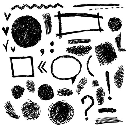 checkboxes: Set of grunge black and white hand drawn frames and quotes and question exclamation mark and  checkboxes