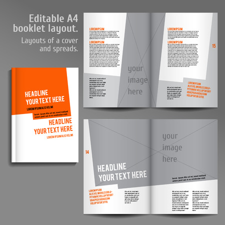 A4 book  Layout Design Template with Cover and 2 spreads of Contents Preview. For design magazines, books, annual reports.