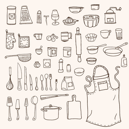 Cooking. Kitchen utensils collection in doodle style