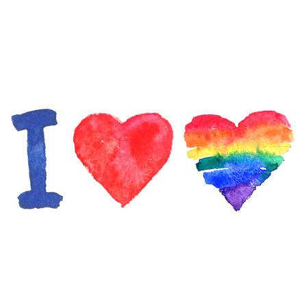 bandera gay: Colores de la bandera gay en la forma de corazón. Vector ilustración de estilo grunge de la acuarela