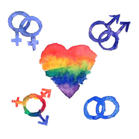 sex discrimination: Vector card Heart label with lgbt symbols  various sexual identities, grunge watercolour style