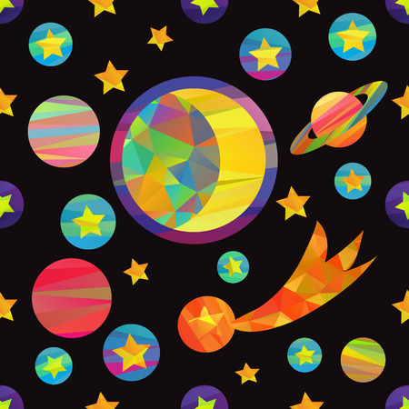saturn rings: seamless pattern of vector images of planets and the moon. fun colorful papercut style Illustration