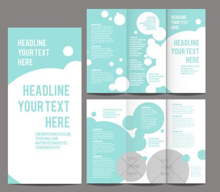 delicate bubbles style Tri-fold Brochure and Catalog Vector Concept Template Blue Color Illustration
