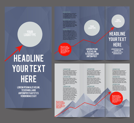 hight tech: Tri Fold corporate identity template Brochure Vector Design. Corporate Leaflet with growth chart arrow on polygonal mountain Illustration