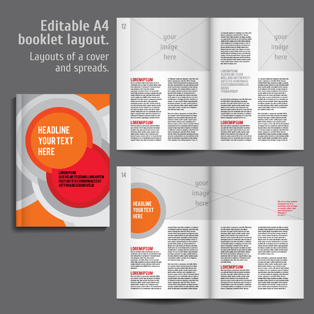 book spreads: Modern Vector abstract brochure, report or flyer design template  with Cover and 2 spreads of Contents Preview. For design magazine, book, annual report. an example of a two-column text layout