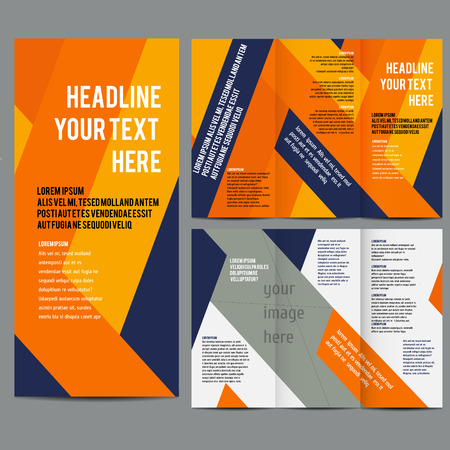 abstract template: brochure design template vector trifold geometric abstract