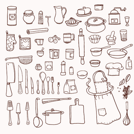 kitchen illustration: Cooking. Kitchen utensils collection  Retro set with doodle kitchen equipments. Vector illustration.