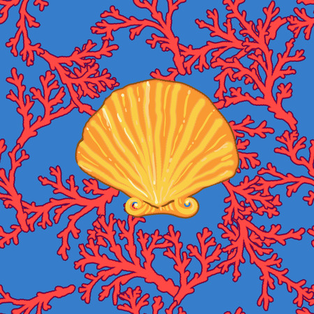 pretentious: seamless colourful sea coral pattern in elegant pretentious style. red and blue