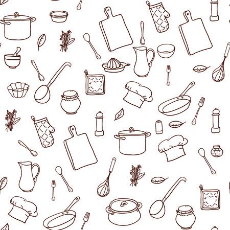 手でシームレスなパターンは、罫線入りの用紙に調理器具を描画します。キッチンの背景。落書き厨房機器とレトロな壁紙。ベクトルの図。