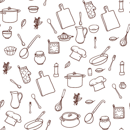 Seamless pattern with hand drawn cookware on the lined paper. Kitchen background. Retro wallpaper with doodle kitchen equipments. Vector illustration. Vettoriali