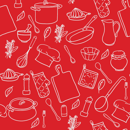 Seamless pattern with hand drawn cookware on the red background. Kitchen background. Retro wallpaper with doodle kitchen equipments. Vector illustration. Vettoriali