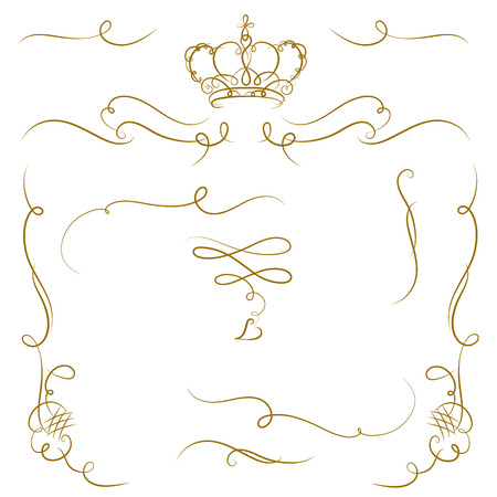 cartouche: Ornate cartouche with crown and scroll strokes. Vector design elements.