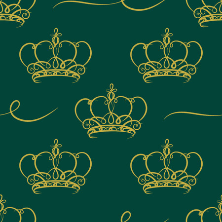 cartouche: Ornate cartouche with crown seamless pattern Vector design elements.