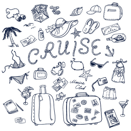 Hand drawn cruise time icons set. Travel collection.