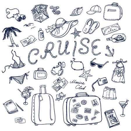 Hand getrokken cruise tijd pictogrammen instellen. Reiscollectie.