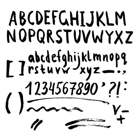 Hand drawn brush stroke font set includes uppercase and lowercase letters, numbers, exclamation and question marks and underscores
