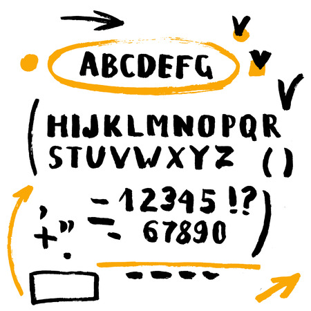 Hand drawn brush stroke font set includes capitals letters, numbers, exclamation and question marks and underscore, orange and black
