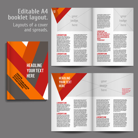 A4 book   geometric abstract Layout Design Template with Cover and 2 spreads of Contents Preview. For design magazines, books, annual reports. 向量圖像