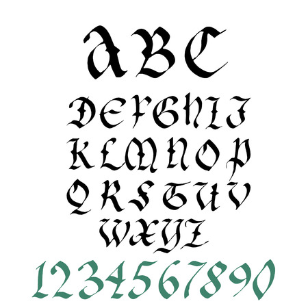 numbers clipart: Hand drawn gothic ink pen artistic font set,   includes capital  letters,  numbers. Illustration