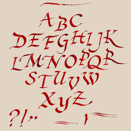 cursive: Hand drawn ink pen artistic font,  expressed cursive set, with red and brown colours, includes capital  letters,  exclamation and question marks and underscores