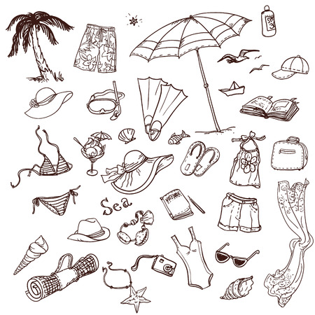 vacationer: Hand drawn summer time icons set. Travel collection.