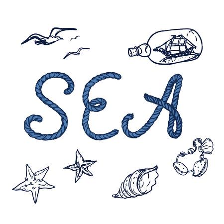 sea shore: Sea shore and swimming accessories.  Summer tropic vacation background design.