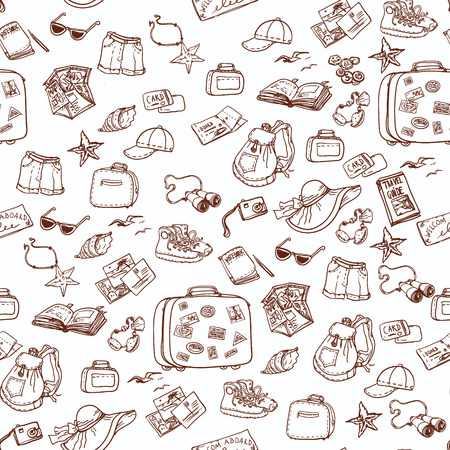 Hand drawn summer time seamless pattern. Travel collection. Vettoriali