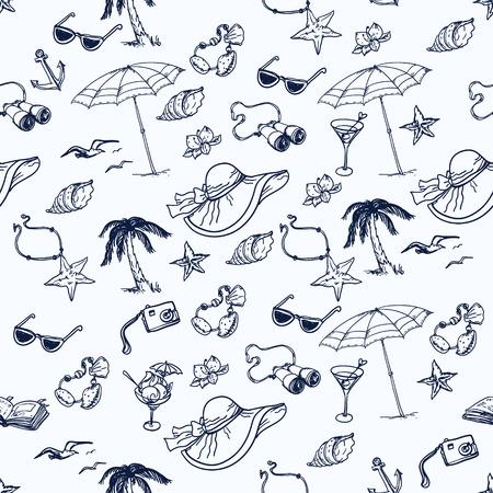 手描きクルーズ時間シームレス パターン。コレクションを旅行します。  イラスト・ベクター素材