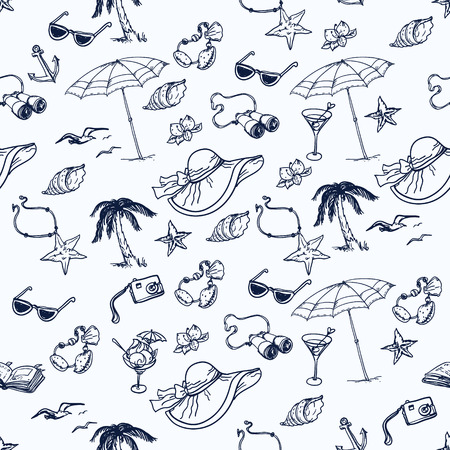Hand drawn cruise time seamless pattern. Travel collection.